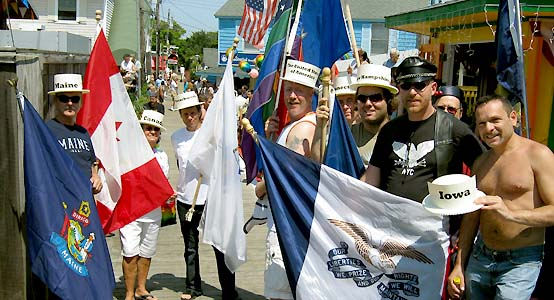 flagbearers JP Michaud (ME), Pat Goff (Canada), Candido (MA), Dale (USA), Jim & Richard (CT), Mike Lavers (NH) & Brian & Ray (IA) - photo by Bruce-Michael Gelbert